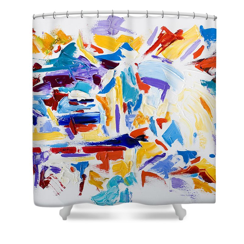 Abstract Yellow Shower Curtain featuring the painting Fiesta by Shannon Grissom