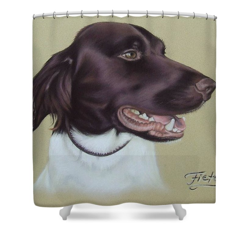 Dog Shower Curtain featuring the pastel Fiete by Nicole Zeug