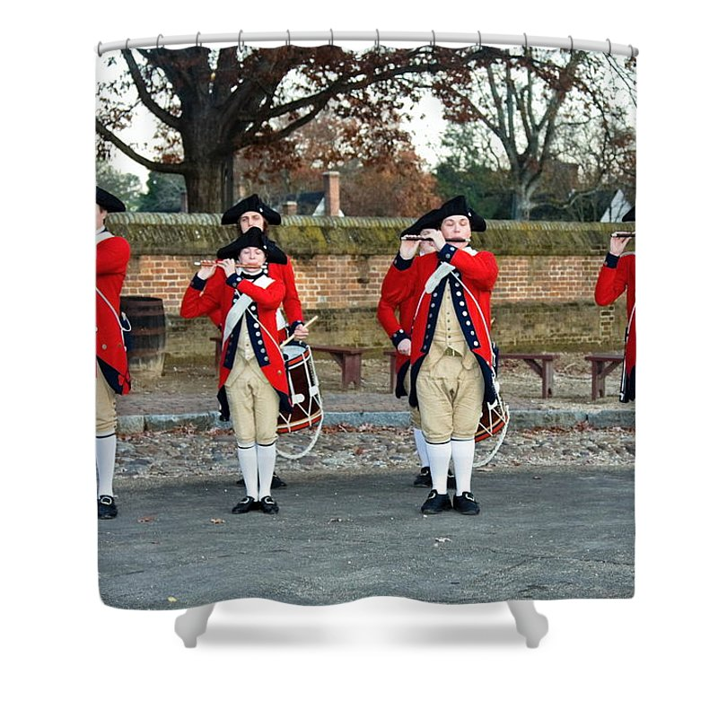 Fifes And Drums Shower Curtain featuring the photograph Fifes And Drums by Sally Weigand