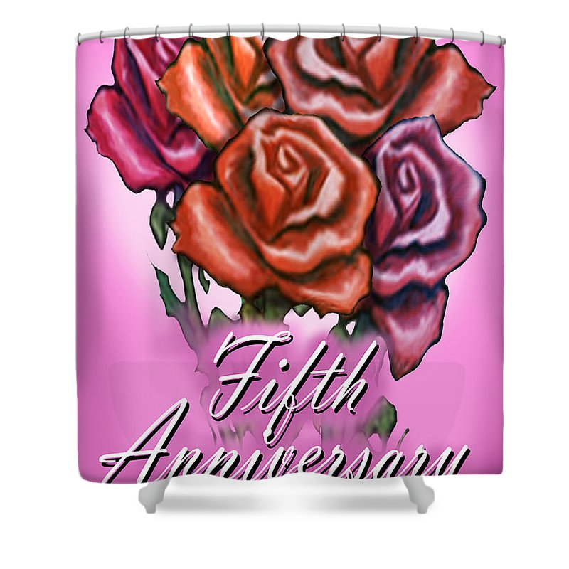 Fifth Shower Curtain featuring the greeting card Fifth Anniversary by Kevin Middleton