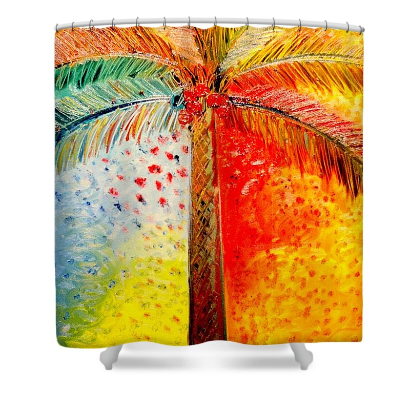Palm Tree Art Shower Curtain featuring the painting Fig Palm Sunset by Helen Gerro
