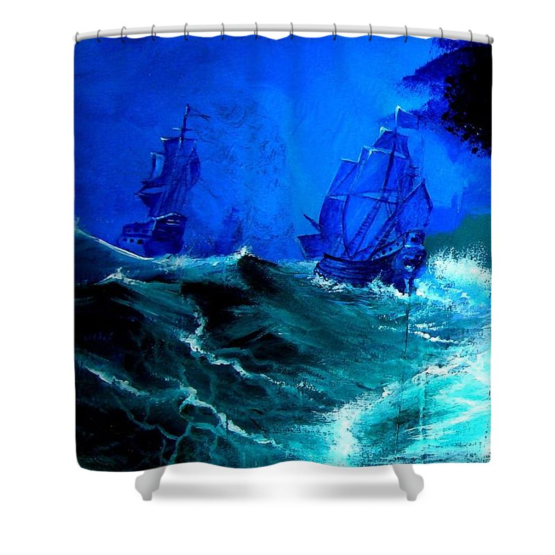 Seascape Shower Curtain featuring the painting Fight For Life by Glory Fraulein Wolfe