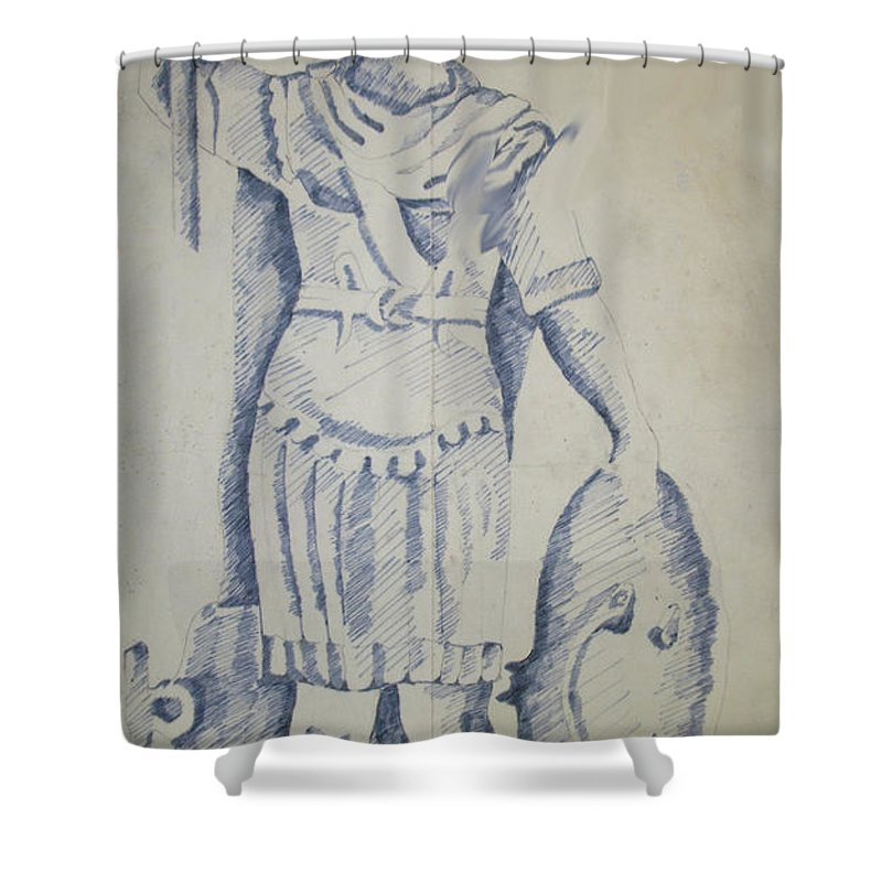 Fighter Shower Curtain featuring the painting Fighter by Rania AL-Madhoun