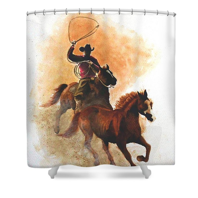 Western Shower Curtain featuring the painting Fighting For Freedom by Jimmy Smith