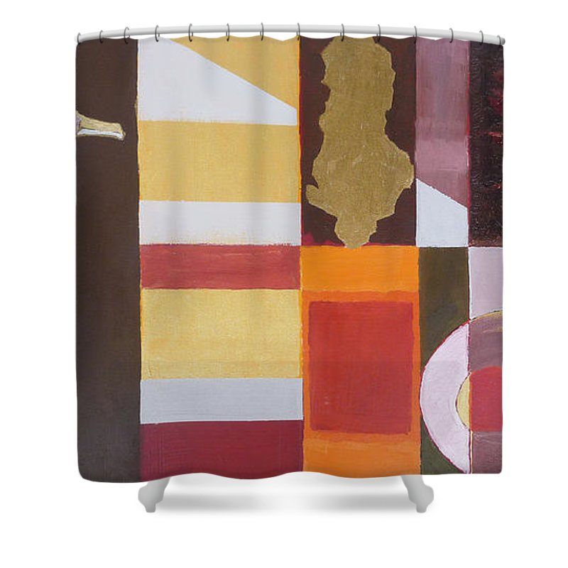 Oil Shower Curtain featuring the painting Figurativ Albanian Simbols by Alban Dizdari