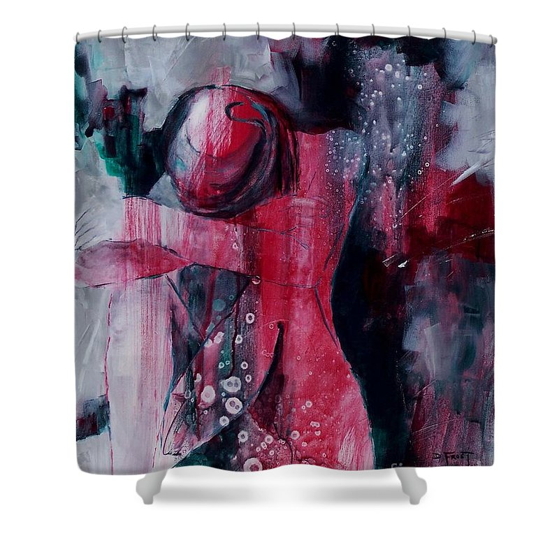 Abstract Expressionism Shower Curtain featuring the painting Figure Study 021 by Donna Frost