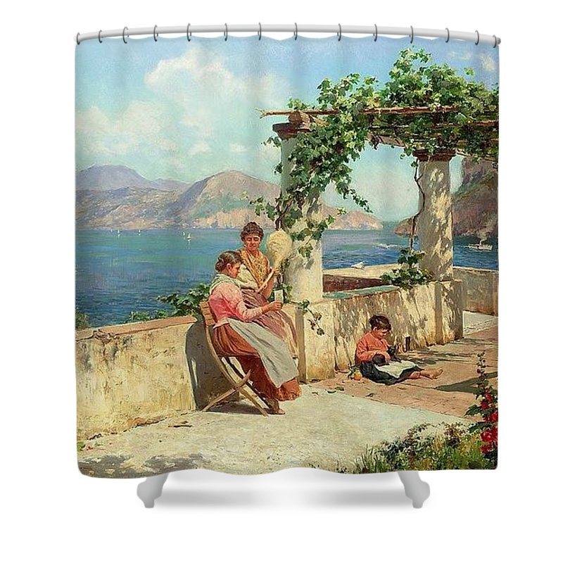 Alott Shower Curtain featuring the painting Figures On A Terrace In Capri by Robert