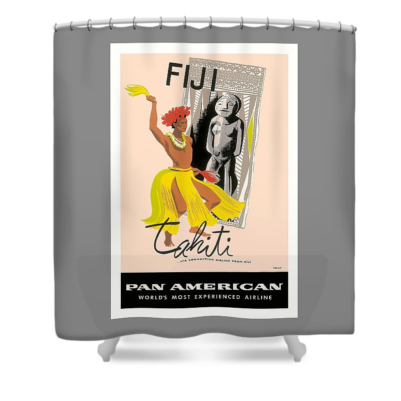 Fiji Shower Curtain Featuring The Digital Art And Tahiti Native Dancer Vintage Aviation Poster By