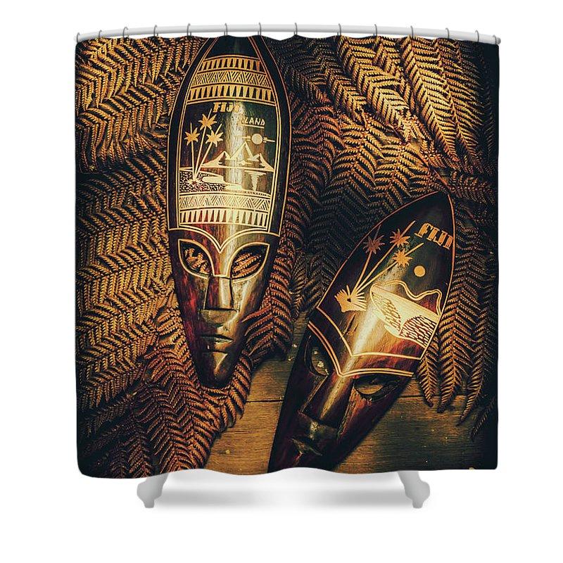 Fijian Tiki Tribal Masks Shower Curtain for Sale by Jorgo ...