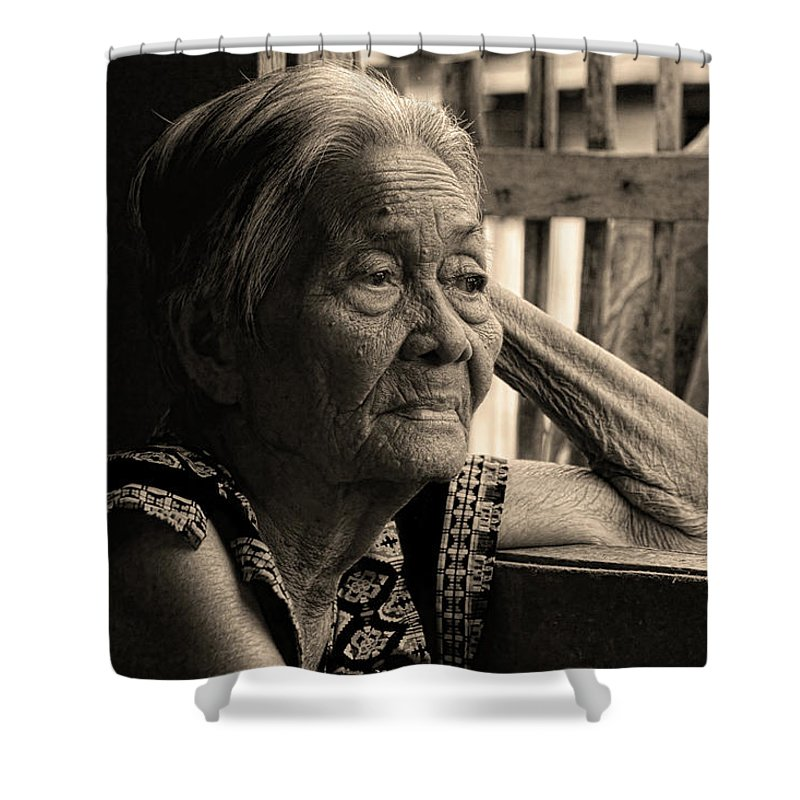 Insogna Shower Curtain featuring the photograph Filipino Lola Image Number 33 In Black And White Sepia by James BO Insogna