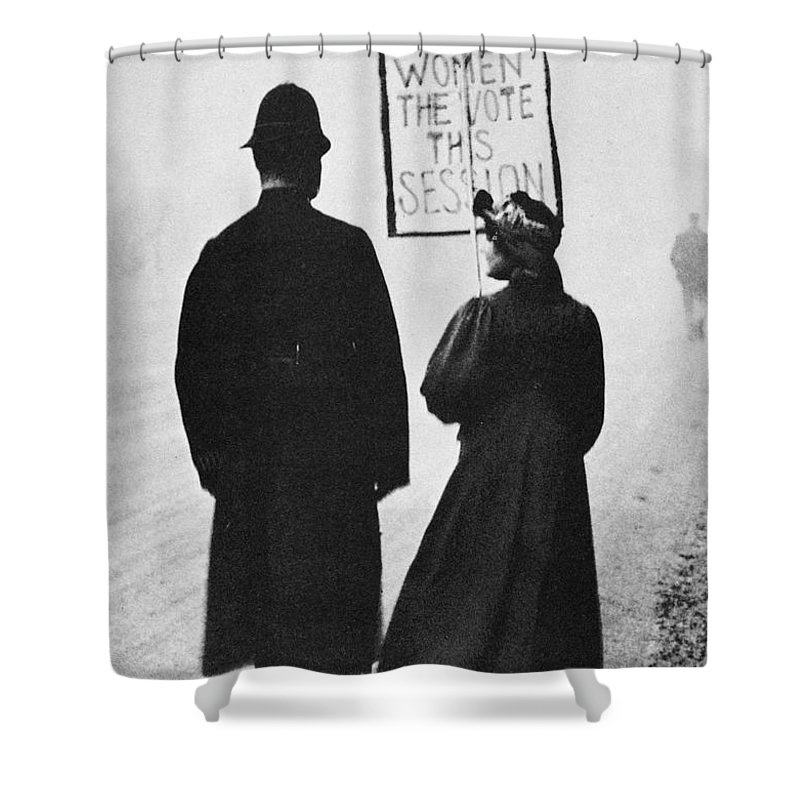 1908 Shower Curtain featuring the photograph Film Still: Suffragette by Granger