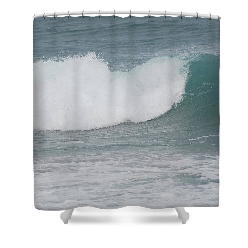 Green Shower Curtain featuring the photograph Fin Wave by Rob Hans