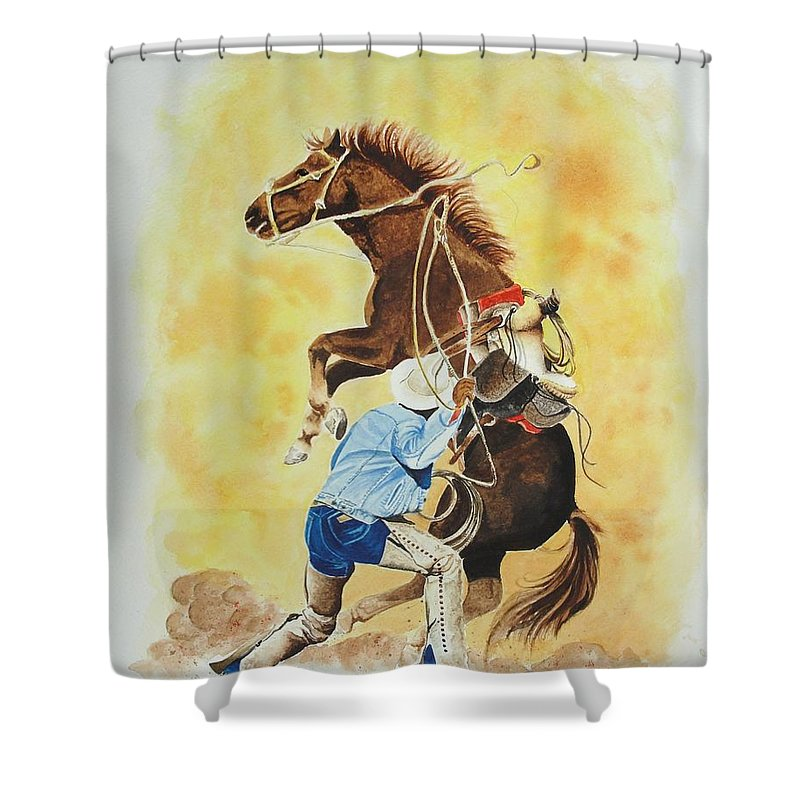 Western Shower Curtain featuring the painting Final Appeal by Jimmy Smith