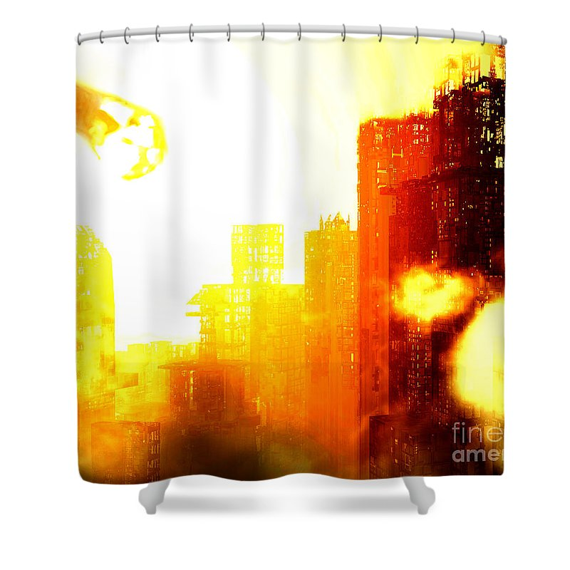 Meteor Showe Shower Curtain featuring the digital art Final Strike by Richard Rizzo