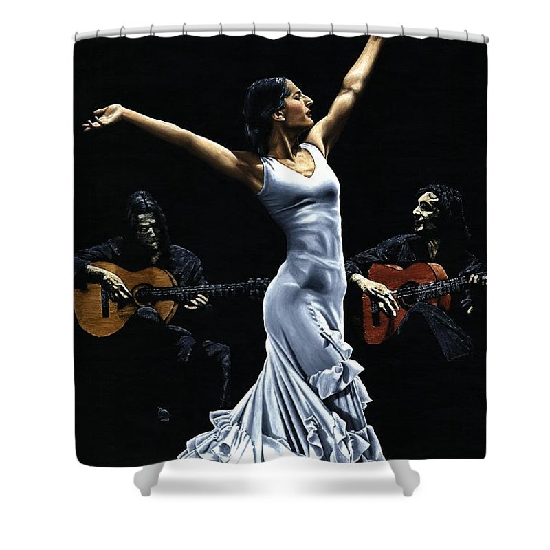 Flamenco Shower Curtain featuring the painting Finale Del Funcionamiento Del Flamenco by Richard Young