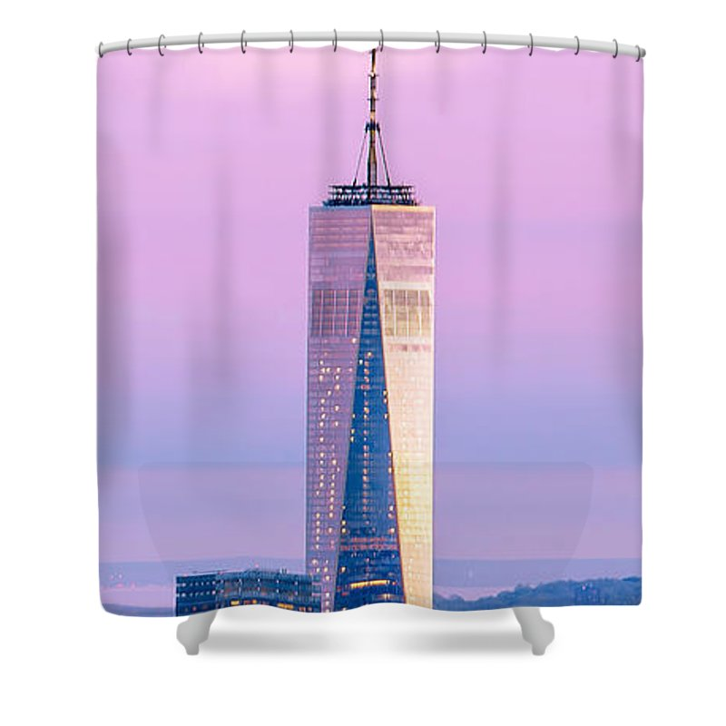 World Trade Center Shower Curtain featuring the photograph Finance Romance by Az Jackson