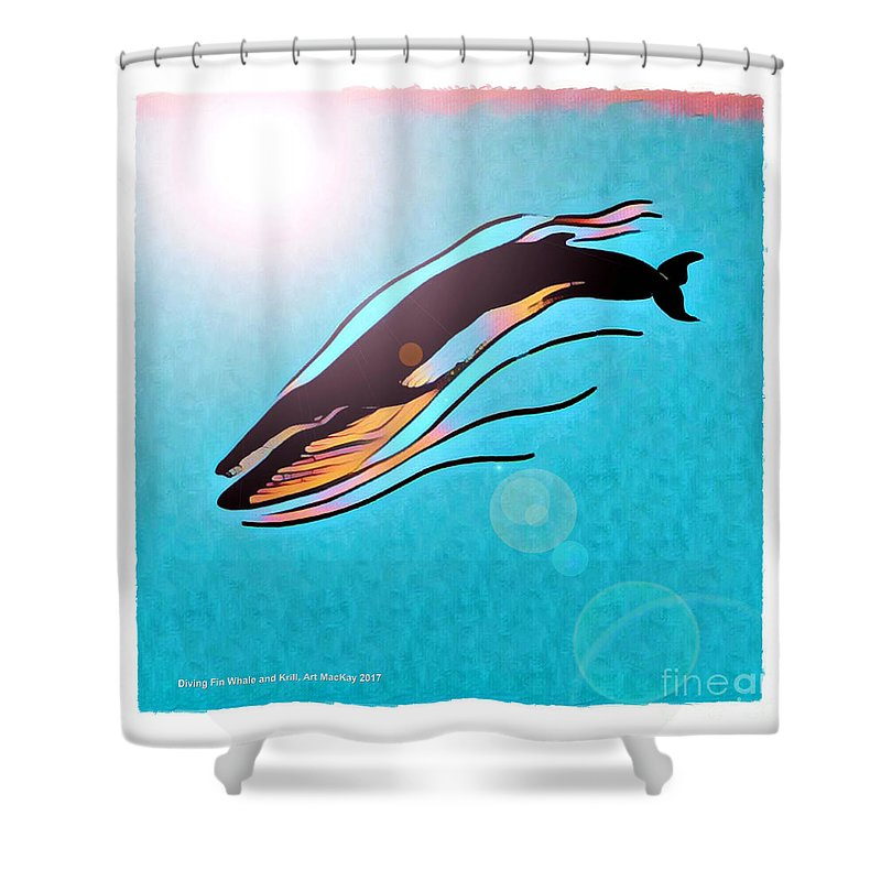 Whale Shower Curtain featuring the digital art Finback Diving Through Krill by Art MacKay