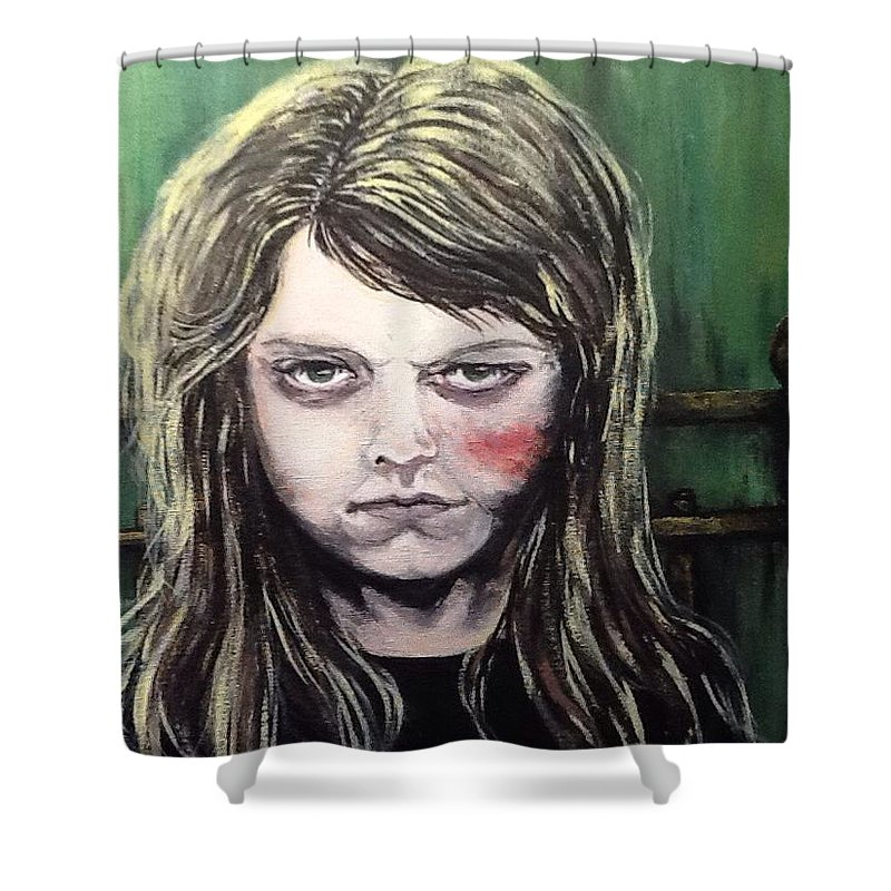 Finders Keepers Shower Curtain featuring the painting Finders Keepers #1 by Misty Greyeyes