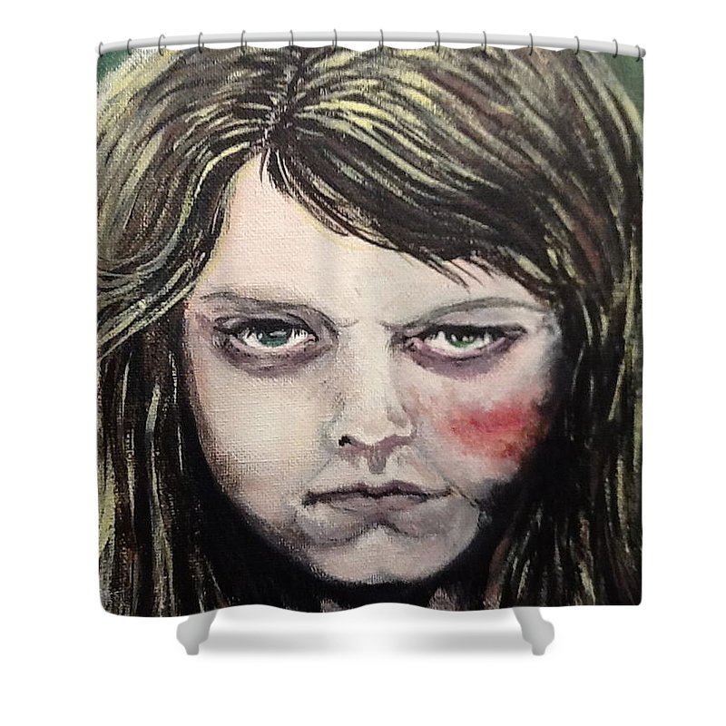 Finders Keepers Shower Curtain featuring the painting Finders Keepers #2 by Misty Greyeyes