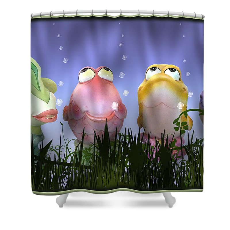 2d Shower Curtain featuring the photograph Finding Nemo Figurine Characters by Brian Wallace