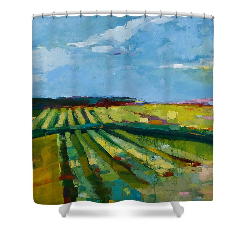 Landscape Shower Curtain featuring the painting Fine Fields by Michele Norris