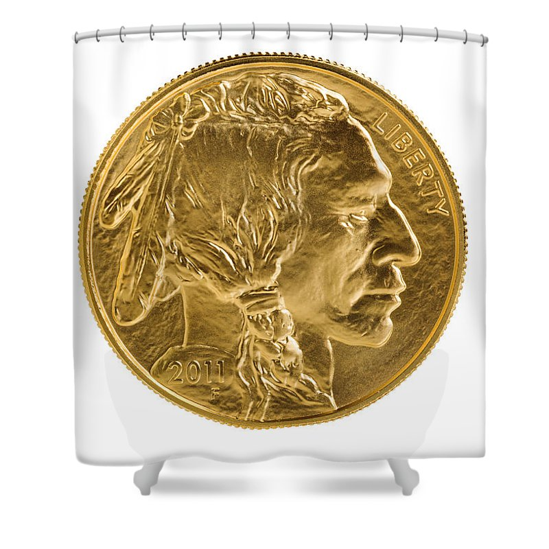 Gold Shower Curtain featuring the photograph Fine Gold Buffalo Coin On White Background by Thomas Baker