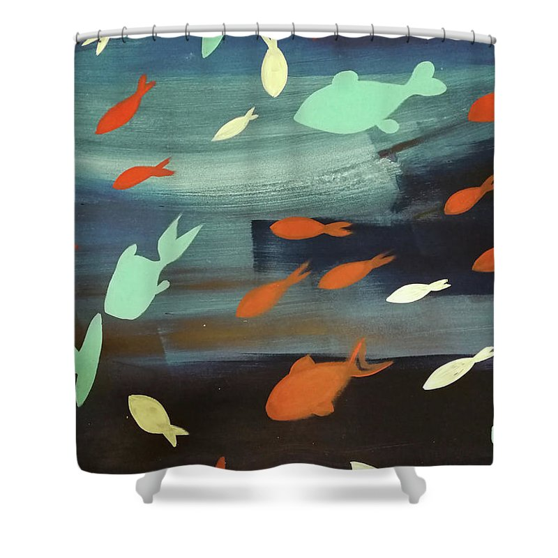 Mare Shower Curtain featuring the painting Finestra Di Pesci by Alessandra Bisi