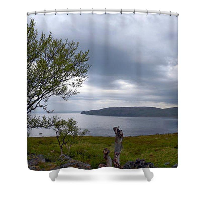 Fjord Shower Curtain featuring the photograph Finnmark Panorama by Jouko Lehto
