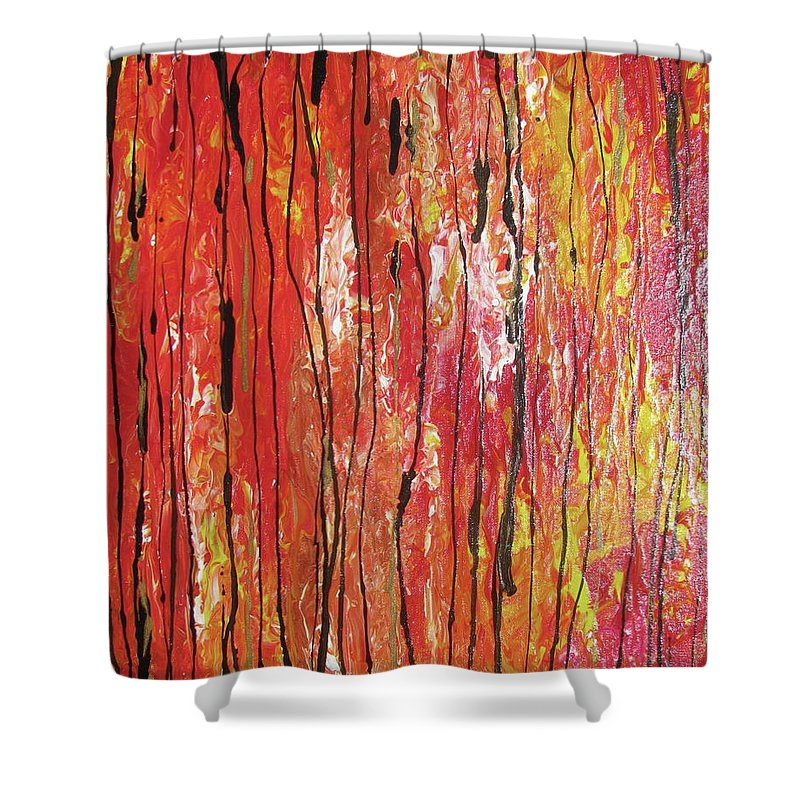 Abstract Shower Curtain featuring the painting Fire - 1 by Jacqueline Athmann