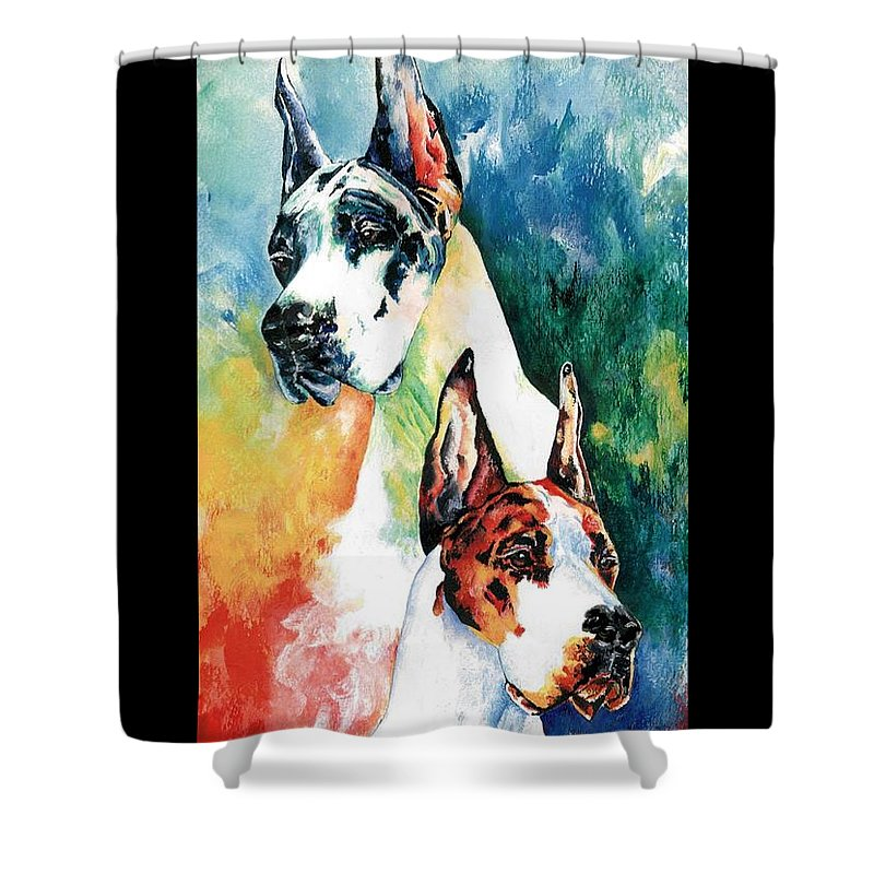 Great Dane Shower Curtain featuring the painting Fire And Ice by Kathleen Sepulveda