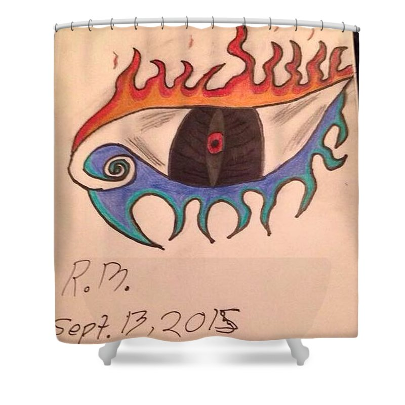 Eye Shower Curtain featuring the drawing Fire And Ice by Robert Macleod