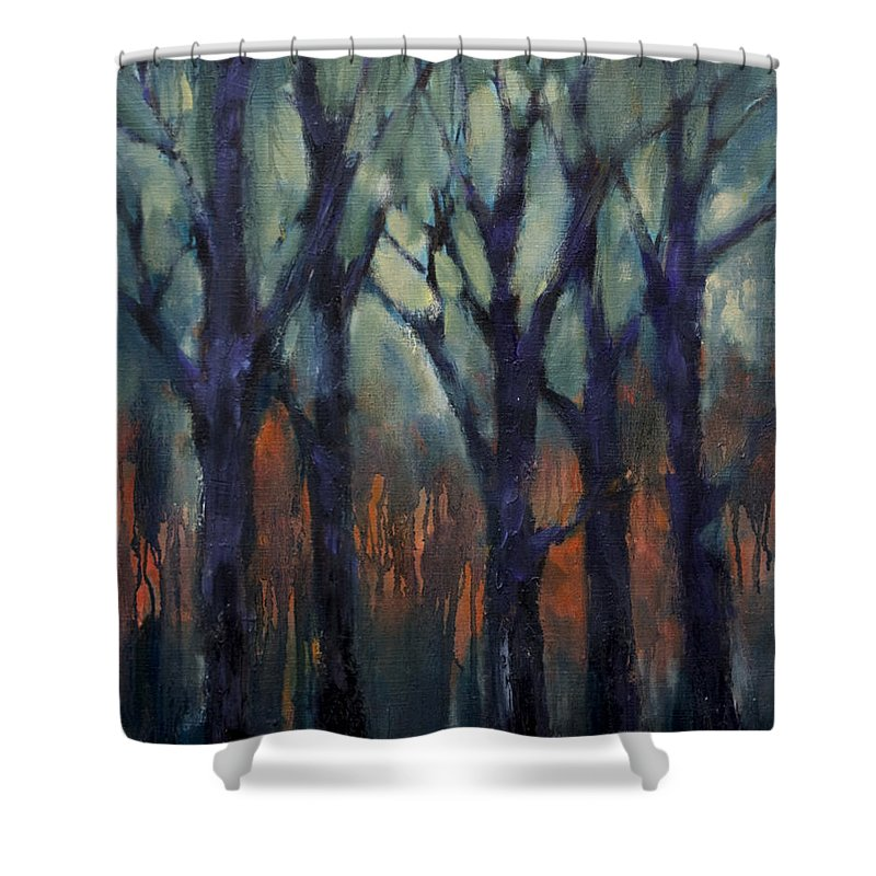 Fire Shower Curtain featuring the painting Fire At Sunset by Meridith Martens