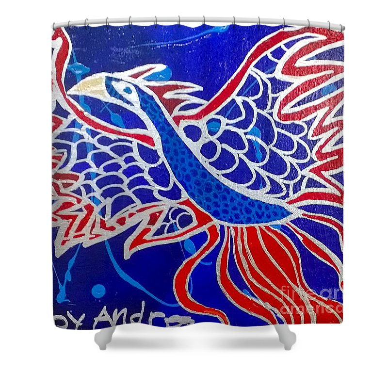 Fire Shower Curtain featuring the painting Fire Bird by Andres Pola
