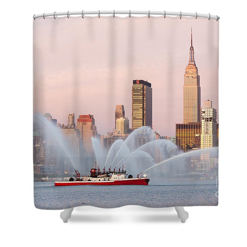 Clarence Holmes Shower Curtain featuring the photograph Fire Boat and Manhattan Skyline I by Clarence Holmes
