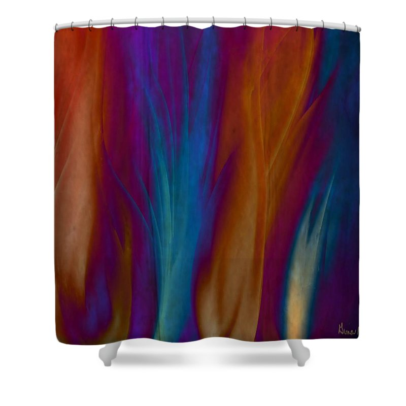 Acrylics Shower Curtain featuring the painting Fire Dance by Gina Lee Manley