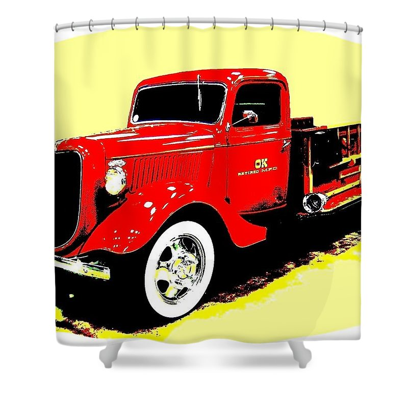 Fire Engine Shower Curtain featuring the digital art Fire Engine Ok by Will Borden