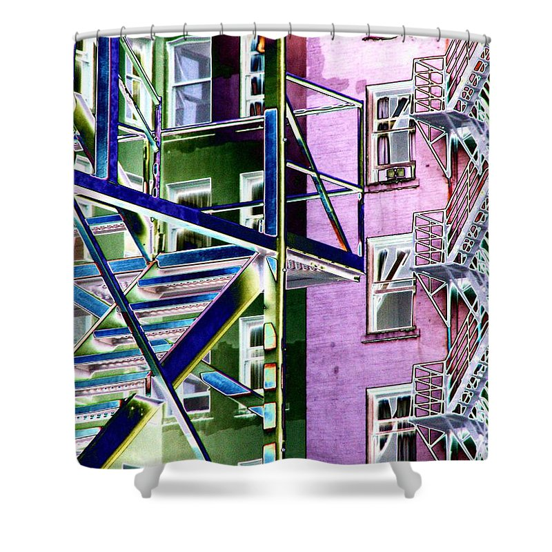 Fire Shower Curtain featuring the digital art Fire Escape 2 by Tim Allen