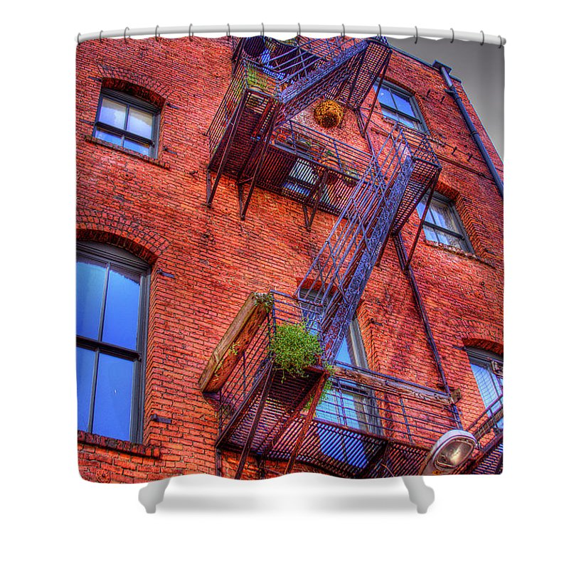 Photo Shower Curtain featuring the photograph Fire Escape by David Patterson