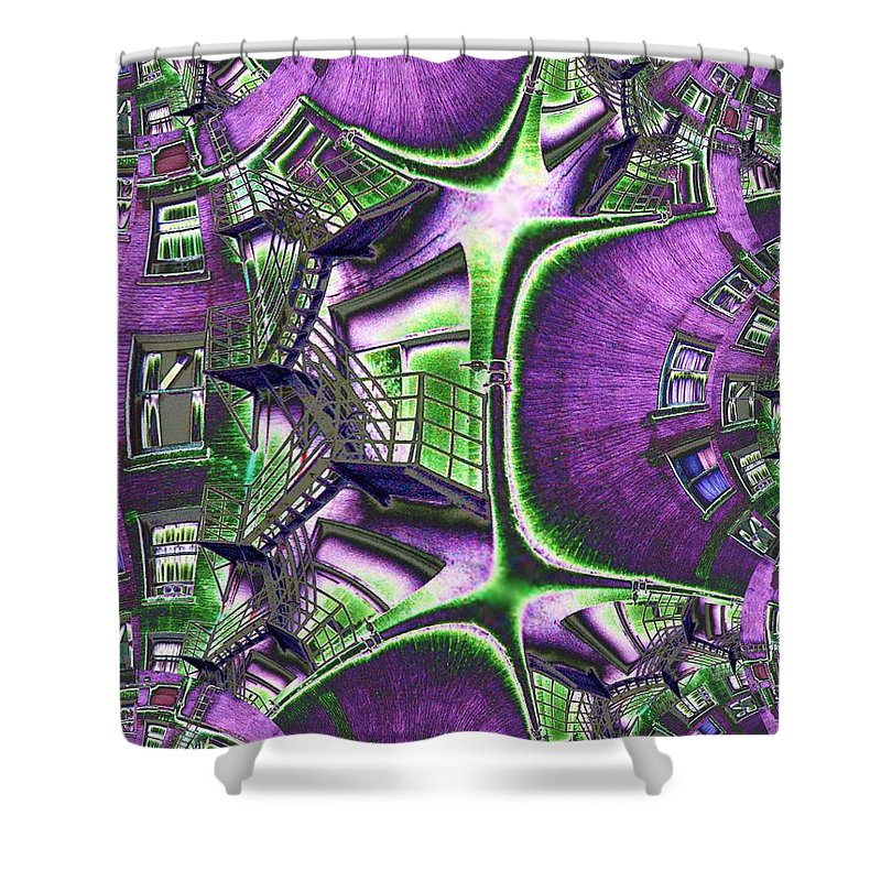 Fire Escape Shower Curtain featuring the photograph Fire Escape Fractal by Tim Allen