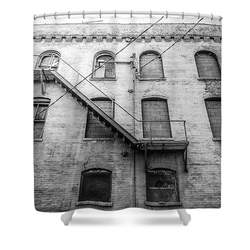 Architecture Shower Curtain featuring the photograph Fire Escape by Jim Love