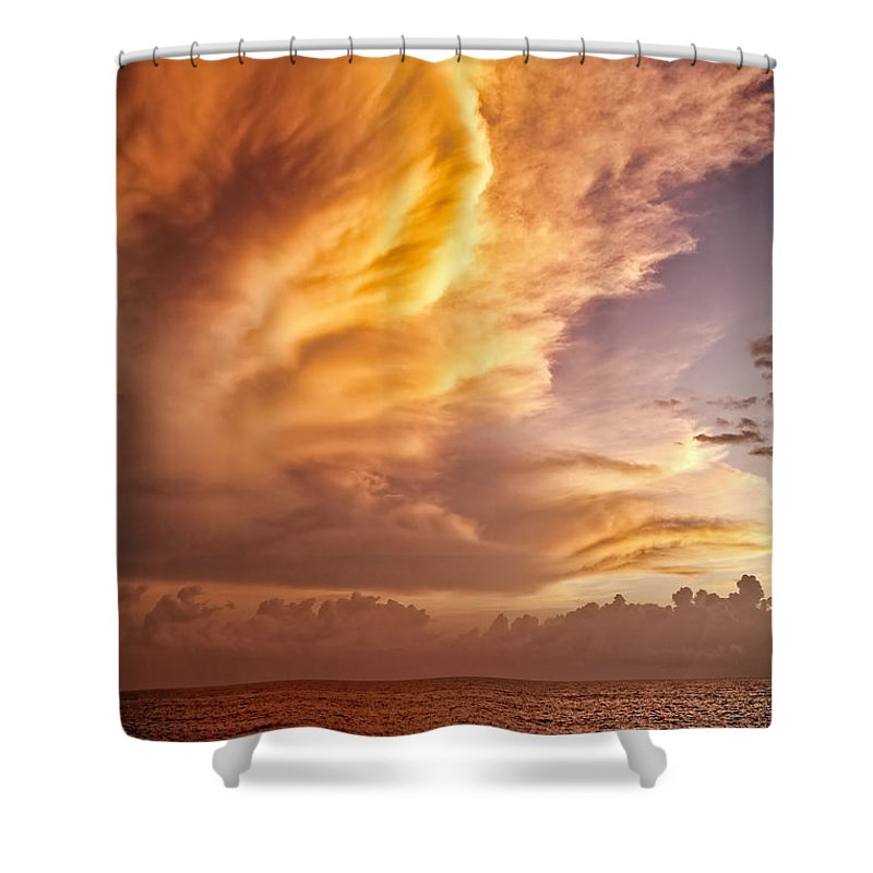 Jamaica Shower Curtain featuring the photograph Fire In The Sky by Dave Bowman
