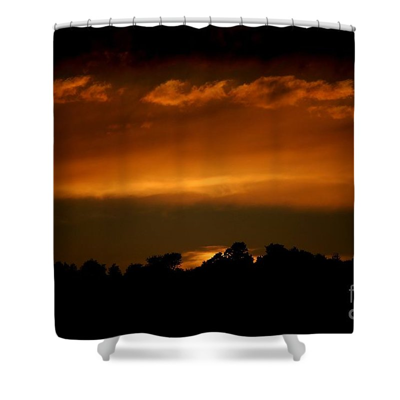 Digital Photo Shower Curtain featuring the photograph Fire In The Sky by David Lane
