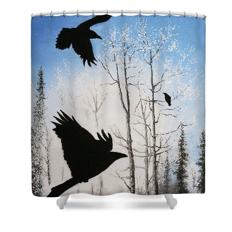 Raven Shower Curtain featuring the painting Fire In The Sky by Stanza Widen