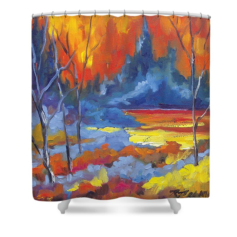 Art Shower Curtain featuring the painting Fire Lake by Richard T Pranke