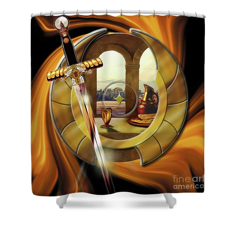 Fire Shower Curtain featuring the painting Fire Of Glory by Todd L Thomas