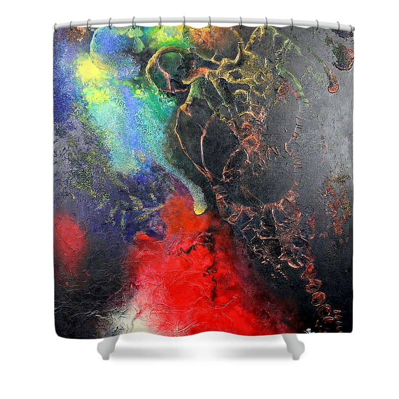 Valentine Shower Curtain featuring the painting Fire Of Passion by Farzali Babekhan