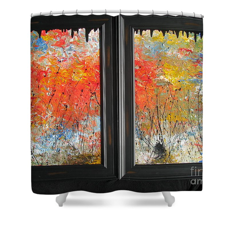 Fire Shower Curtain featuring the painting Fire On The Prairie by Jacqueline Athmann
