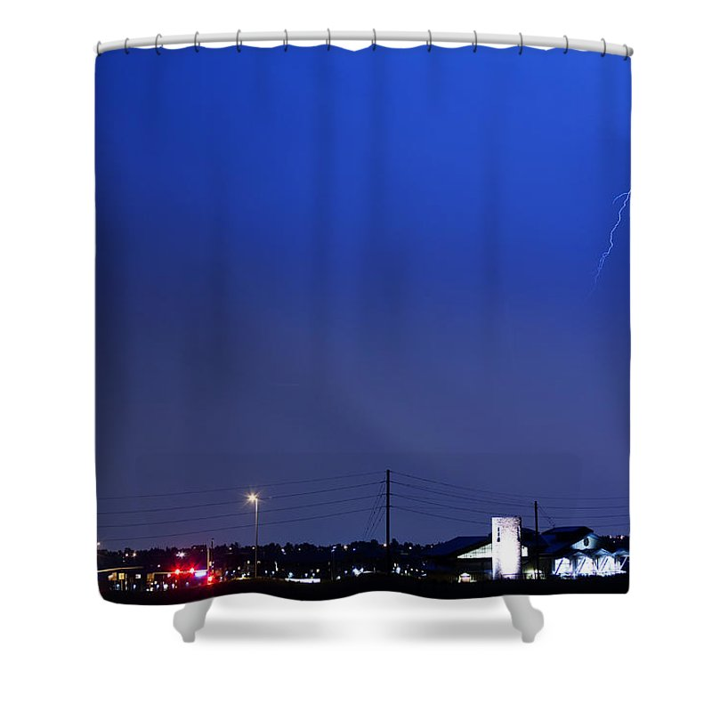 Boulder Shower Curtain featuring the photograph Fire Rescue Station 67 Lightning Thunderstorm 2 by James BO Insogna