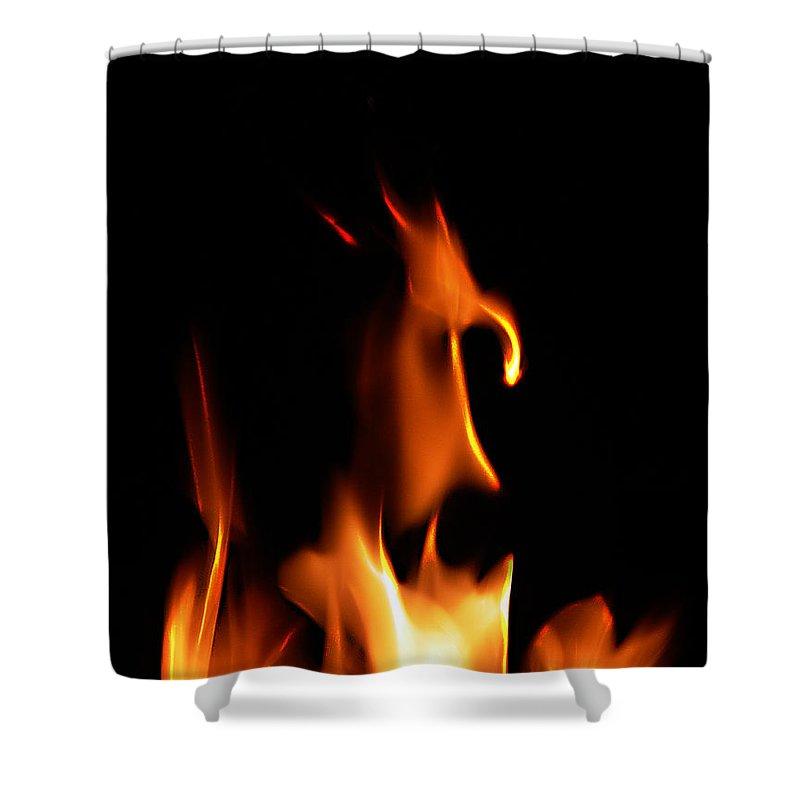 Cartoon Character Fire Shower Curtain featuring the photograph Fire Toon by Peter Piatt