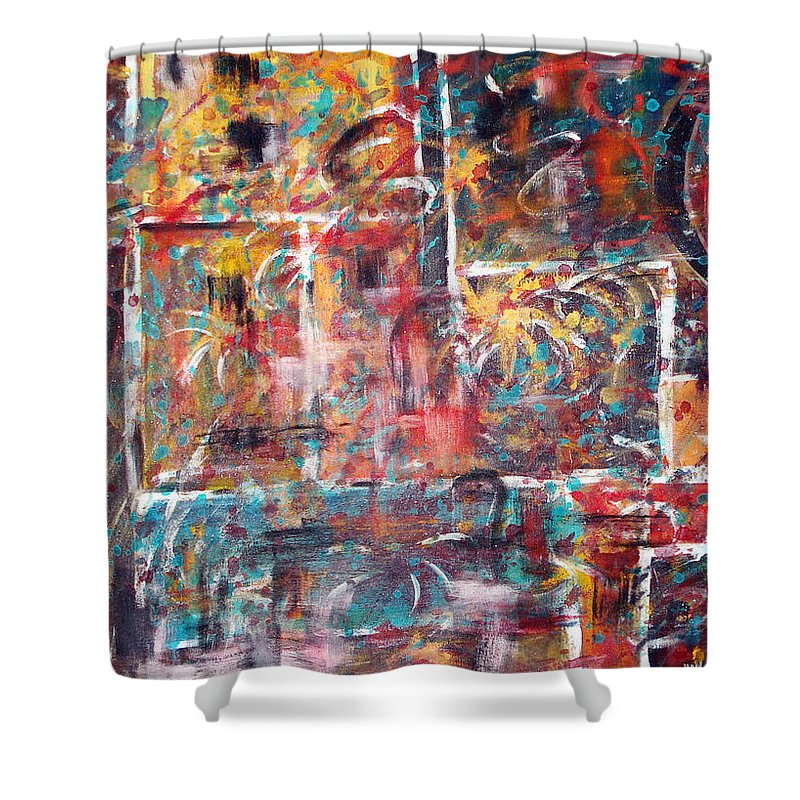 Acrylic Panting Shower Curtain featuring the painting Fire Works by Yael VanGruber